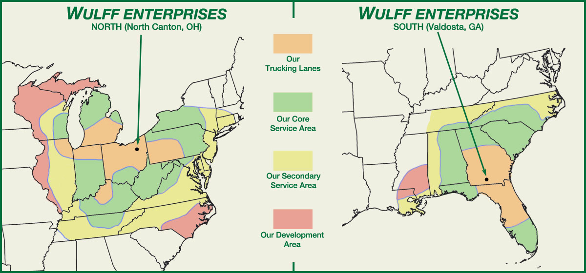 Map of USA with states highlighted that Wulff Enterprises provides shipping in.